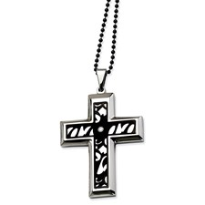 Chisel Stainless Steel Fancy Cross CZ 24 inch Necklace