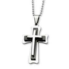Chisel Stainless Steel Black Acrylic and Polished Cross Pendant 24 inch Necklace