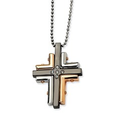 Chisel Stainless Steel Black and Rose Gold-plated CZ Cross 22 inch Necklace