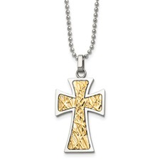 Chisel Stainless Steel 14k Gold Cross Pendant 22 inch Necklace