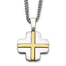 Chisel Stainless Steel 24k Plating Cross 22 inch Necklace