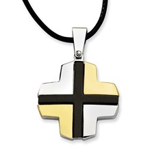 Chisel Stainless Steel Polished Black and Gold-plated Cross Pendant 20 inch Necklace
