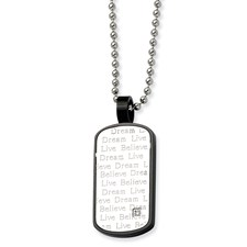 Chisel Stainless Steel Black PVD CZ Pendant  24 inch Necklace