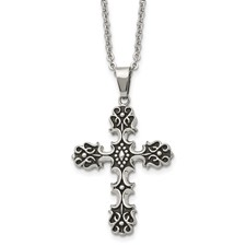 Chisel Stainless Steel Antiqued Cross Pendant 22 inch Necklace