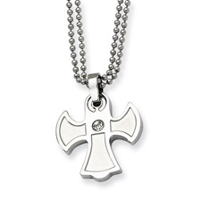 Chisel Stainless Steel Cross CZ 22 inch Necklace