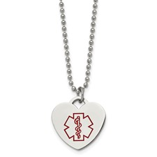 Chisel Stainless Steel Red Enamel Heart Shaped Medical Pendant 22 inch Necklace