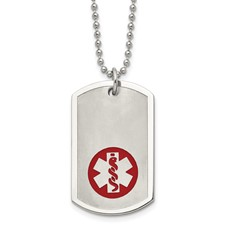 Chisel Stainless Steel Red Enamel Large Dog Tag Medical Pendant 22 inch Necklace