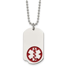 Chisel Stainless Steel Red Enamel Small Dog Tag Medical Pendant 22 inch Necklace