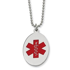 Chisel Stainless Steel Red Enamel Oval Medical Pendant 22 inch Necklace