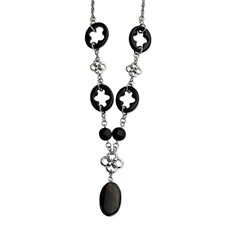 Chisel Stainless Steel Black Agate and Flowers 22 inch Necklace