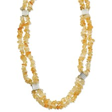 Chisel Stainless Steel Citrine Chip 24 inch Necklace