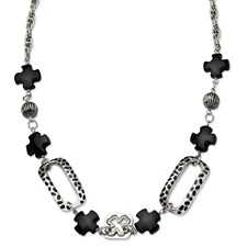 Chisel Stainless Steel Black Agate and Maltese 24 inch Necklace