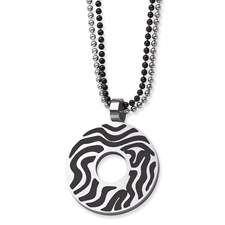 Chisel Stainless Steel Black Rubber Swirl Circle 22 inch Double Chain Necklace