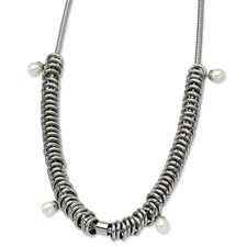 Chisel Stainless Steel Multi Rings with Fresh Water Pearls Necklace