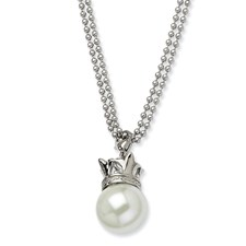 Chisel Stainless Steel Simulated Pearl 22 inch Necklace