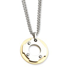 Chisel Stainless Steel 24k Plated Circle 22 inch Necklace