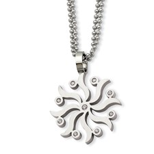 Chisel Stainless Steel Snowflake CZ 22 inch Necklace