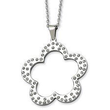 Chisel Stainless Steel Polished Flower with CZ Pendant 24 inch Necklace
