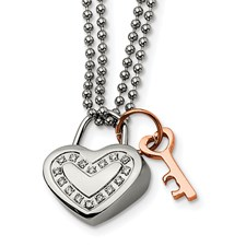 Chisel Stainless Steel Heart CZ and Rose Gold-plated 22 inch Necklace