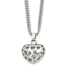 Chisel Stainless Steel Puffed Heart Heart Cutouts 22 inch Necklace