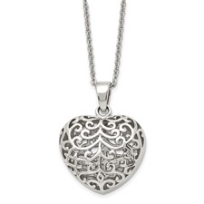 Chisel Stainless Steel Filigree Puffed Heart Pendant 22 inch Necklace