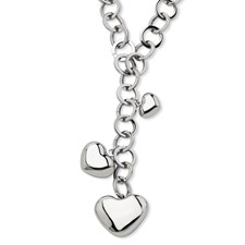 Chisel Stainless Steel Polished Hearts 28 inch Y Necklace