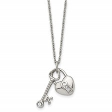 Chisel Stainless Steel Heart Lock and Key Crystals 17 2in Ext Necklace