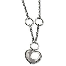 Chisel Stainless Steel Dangle Heart 18 inch Necklace