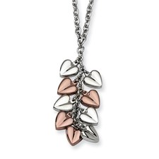 Chisel Stainless Steel Polished and Chocolate Plated Hearts 22 inch Necklace