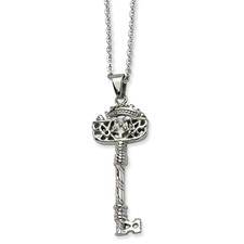 Chisel Stainless Steel Fancy Key Pendant 22 inch Necklace