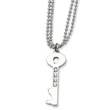 Chisel Stainless Steel Polished Key CZ 24 inch Necklace