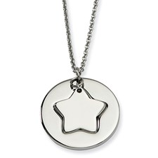 Chisel Stainless Steel Polished Star and Star Cutout 18 inch Necklace