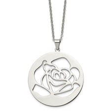 Chisel Stainless Steel Rose Cutout Pendant 22 inch Necklace
