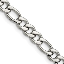 Chisel Stainless Steel 7.30mm 24 inch Figaro Chain