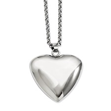 Chisel Stainless Steel Polished Heart Pendant 24 inch Necklace