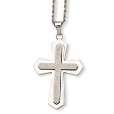 Chisel Stainless Steel Polished and Laser Cut Cross Pendant 24 inch Necklace