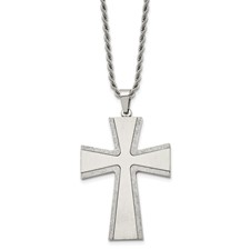 Chisel Stainless Steel Diamond Cut and Laser Cross Pendant 24 inch Necklace