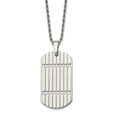Chisel Stainless Steel CZ Dog Tag Pendant 24 inch Necklace