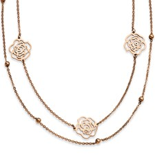 Chisel Stainless Steel Rose Gold-plated Flowers 17 inch Necklace with extension