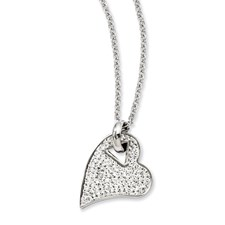 Chisel Stainless Steel Clear Crystal Heart Pendant 20 inch Necklace
