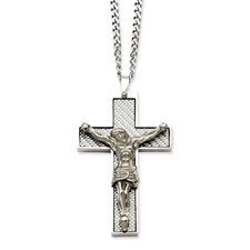 Chisel Stainless Steel Grey Carbon Fiber Crucifix Pendant 24 inch Necklace