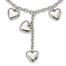 Chisel Stainless Steel Polished Hearts 18 inch Y Necklace