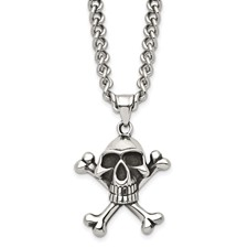 Chisel Stainless Steel Antiqued Skull and Crossbones Pendant 24 inch Necklace