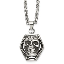 Chisel Stainless Steel Antiqued Skull Pendant 24 inch Necklace