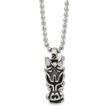 Chisel Stainless Steel Antiqued Dragon Head Pendant 22 inch Necklace