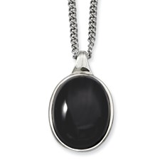 Chisel Stainless Steel Black Agate Pendant 18 inch Necklace