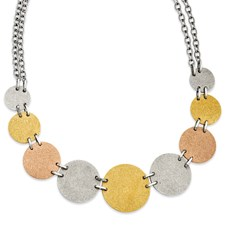 Chisel Stainless Steel Tri-Color Plated Discs 20 inch Necklace