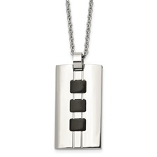 Chisel Stainless Steel Black-plated Accents 24 inch Necklace