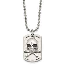 Chisel Stainless Steel Antiqued Skull and Cross Bones Dog Tag Pendant 24 inch Necklace
