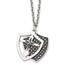 Stainless Steel IP Black Plated Moveable Shield Pendant Necklace
